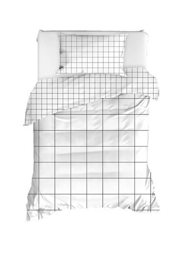 EnLora Home %100 Doğal Pamuk Nevresim Seti Tek Kişilik Grandes Beyaz Beyaz